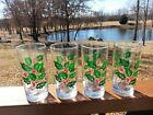 Vintage 1960s Indiana Holly Berry Berries 12 oz Christmas Glass Glasses Tumblers