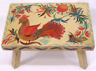 Vtg Folk Art Painted Wood Bench PA German Type Bird and Flowers Old Yellow Paint