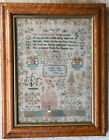 Early 1826 Sampler by Esther Berry Age 6 w Prayer, Brick House, Flowers Antique