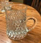 Vintage Indiana Glass Diamond Point Cut Clear Set of 4 Mugs Tankards Cups