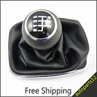 New Chrome Gear Shift Leather 6 Speed  knob Boot Fit For VW Golf Jetta 98-05