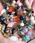 Vintage Art Glass Native American Animal Fetish Turquoise Stone Bead Necklace