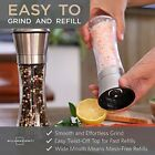 Salt and Pepper Grinder Set Stainless Steel With Stand Thick Glass Tall Design