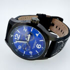 INVICTA MENS 48MM SPECIALTY MILITARY BLUE DIAL LEATHER BAND WATCH  12177   CT