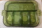 Vintage Green Indiana Glass 5 Part Divided Tray Dish Tiara Fruit Vegetable 11x9