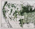 1890 United States Map Agricultural Farming Oat Production Per Acre ORIGINAL