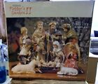 Vintage Kirkland Porcelain Christmas Nativity 10 Piece plus wood base