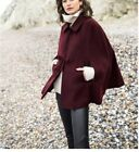 Size 12 Uk New Mademoiselle R Wool Blend Cape With Bow Detail Burgundy Red Ponch