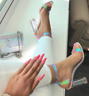 Cape Robbin MERCY Ice White Pink Unicorn Hologram Clear Chunky Square Heel