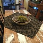 Primitive Colonial Country Farmhouse Woven Table Cloth Square ~ Bayberry