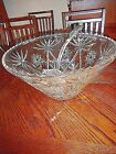Large Vtg Anchor Hocking Clear Punch Bowl, Star of David, Heavy, 14