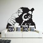 Graffiti Banksy Ape Monkey With Hesdphones Decal Wall Vinyl Sticker Play Room