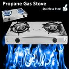 Double Head Propane Gas Burner Portable Camping Outdoor Stove Stainless Furnac E