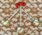3-Vintage ESPNS Sheffield Great Britain Silver Plated Red Bakelite Jelly Spoons