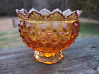 """ Amber Hobnail Candle Bowl – Excellent Condition"