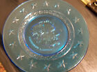 PRESIDENT ABRAHAM LINCOLN GLASS PLATE BLUE VINTAGE MINT CONDITION