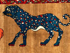 ANTIQUE PERSIAN RUG HUNTING RUGS PICTORIAL CAT vintage oriental IRAN 3x5 2x5 4x6
