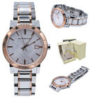 Burberry Watch Women BU9006 Rose Gold Check Stamp Stainless Steel Silver Band