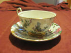 Old Royal Birds and Flowers Tea Cup w/ Saucer, Cabinet Handle and Gold Trim