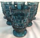 Vintage Riviera Blue Glass Indiana Whitehall Colony Footed Juice Glassware-6