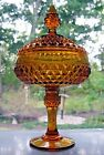 Indiana Glass Amber Diamond Point Compote with Cover