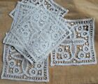 Antique French hand made Battenburg lace squares, unused