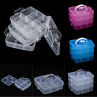 3Tray Clear Plastic Storage Box Jewelry Bead Organizer Container Craft Tool Case
