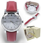 Burberry Watch Women BU9129 Silver Check Stamped Dial Red Leather Strap 34mm