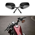 BLACK Long Stem Motorcycle Mirrors Classic For Harley Davidson Dyna Softail USA