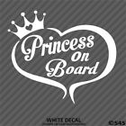 Princess On Board Heart w Crown Decal Sticker Choose Color