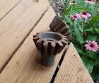 2 Antique SMALL CAST IRON GEAR CANDLE HOLDER LAMP STEAMPUNK Old Machinery Decor
