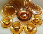 20 Pc Vtg VERECO France Amber Glass Dish Set 4 X Settings Plates Bowl Cup Saucer