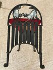 Vintage Fighting Black Cats Cast Iron Fireside Bench Seat Halloween