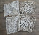 Antique French hand made needle lace/filet lace squares, unused linen embroidery