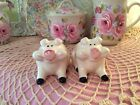 Gorgeous Shabby Hand Painted HP Pink Roses Adorable Pig Salt  Pepper Shakers