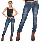 New Womens Blue Vintage Look Ripped Distressed Torn Slim Skinny Stretch Jeans