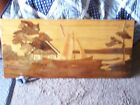 LARGE AND HEAVY LITHUANIAN LANDSCAPE WOOD INLAY WALL ART 37 3/4 X 17 1/2 X 1/2