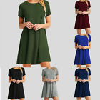 Women's Short Sleeve T-Shirt Dress Tunic Top Loose Swing Casual Summer Dress US