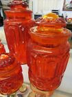 Vintage Orange and Red LE Smith Moon and Stars Glass Canister Set