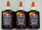 Lot of 3- Elmer's Glue- Goes on Purple Dries Clear School Glue Bottles 3 oz. Ea.