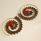 Coral Stone Sliver & Solid Brass Ethnic Jewellry Earring C 99