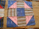 Vintage Antique 10 Shoofly Quilt Blocks Hand Stitched Cotton  8 1/4 X8 1/4 1800s