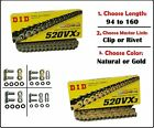 DID DID 520 VX3 Xring Motorcycle Drive Chain Gold or Natural with Master Link