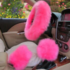 Universal Car Plush Fuzzy Steering Wheel Cover Wool Fur Gear Knob Shifter Brake