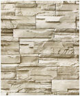 Peel and Stick Faux Stacked Stone Wallpaper Taupe Tan Brick Self Adhesive Paper
