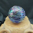 Vintage GLASS EYE STUDIO GES 96 Art Glass Paperweight THREADED Iridescent Signed