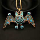 NEW Charm Blue Crystal Smiling Bats Rhinestone Pendant Chain Necklace