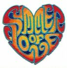 Summer of Love Heart Embroidered Patch Iron On Applique Groovy 60s Style