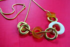 "MOD VINTAGE  36""  GOLDEN SNAKE CHAIN NECKLACE W ROUND LOOP CIRCLE ENDANT"