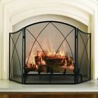 Fireplace Screen 30x48 3 Panel Black Steel Mesh Victorian Gothic Accent Decor